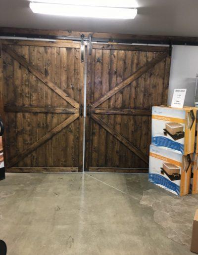 A big wood doors in the arctic spas Kamloops